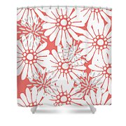 Summer Flowers Red Shower Curtain