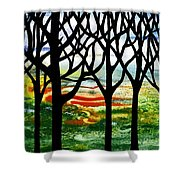 Summer Forest Abstract  Shower Curtain