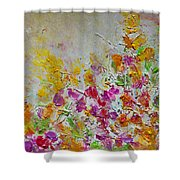 Summer Fragrance Abstract Painting Shower Curtain by Julia Apostolova