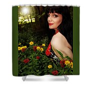 Summer Garden In The Late Afternoon Shower Curtain