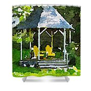 Summer Gazebo With Yellow Chairs Shower Curtain