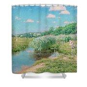 Summer Landscape With Children Shower Curtain