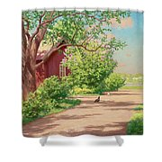 Summer Landscape With Hens Shower Curtain