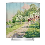 Summer Landscape With House Shower Curtain