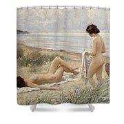 Summer On The Beach Shower Curtain by Paul Fischer