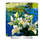 Summer Pond French Lilies Shower Curtain