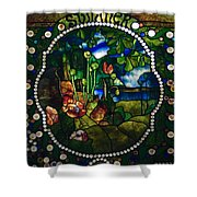 Summer Stained Glass Panel Shower Curtain