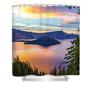 Sunset At Crater Lake, Oregon Shower Curtain