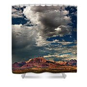 Summer Thunderstorm Clouds Form Over West Temple Zion National Park Utah Shower Curtain