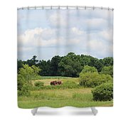 Summer Tractor In Field Corinna Maine Shower Curtain