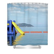 Summer Vacation Scene With Water Slide  Shower Curtain