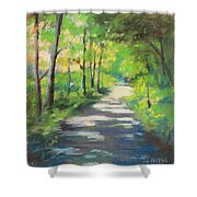 summer woods at Kenoza Lake Shower Curtain by Leslie Alfred McGrath