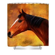 Summers End Quarter Horse Painting Shower Curtain