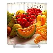 Summertime Fruit On White Shower Curtain
