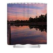 Summit Lake Reflected Sunset   Shower Curtain