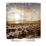 Sun Above Lake Argentino Shower Curtain