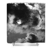 Sun And Clouds - Grayscale Shower Curtain