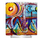 Sun And Waves Shower Curtain