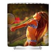 Sun Beach Girl Shower Curtain