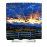 Sun Beams In The Sky At Sunset Shower Curtain