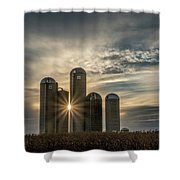 Sun Burst Silos Shower Curtain