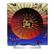 Sun Face Stylized Shower Curtain by Robert  G Kernodle