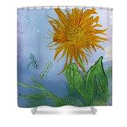 Sun Flower And Dragonflies  At Dusk Shower Curtain