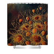 Sun Flowers And Physialis  Shower Curtain