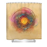 Sun Fractal Abstract Art Shower Curtain