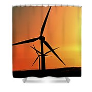 Sun Glare Upon Alberta Windfarm Shower Curtain