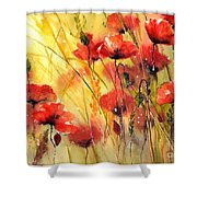 Sun Kissed Poppies Shower Curtain