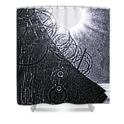 Sun Over Barbed Wire Shower Curtain