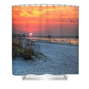 Sun Over Sea N Suds And Pier Large Shower Curtain
