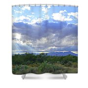 Sun Rays And Desert Landscape Shower Curtain