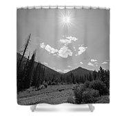 Sun Rays In Yellowstone Bw Shower Curtain