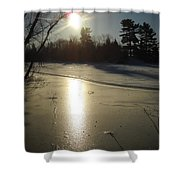 Sun Reflecting Off River Ice Shower Curtain