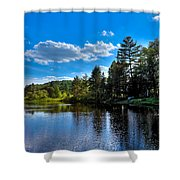 Sun Reflecting On The Moose River Shower Curtain