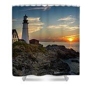 Sun Rising At Portland Head Light Shower Curtain