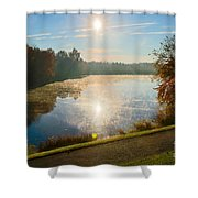 Sun Rising Over Lake Inspiration Shower Curtain