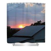 Sun Set On Barn  Shower Curtain