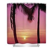 Sun Sets Between Pams Shower Curtain