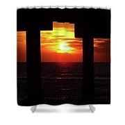 Sun Setting At The Pier Shower Curtain