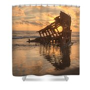 Sun Setting Behind Peter Iredale 0089 Shower Curtain