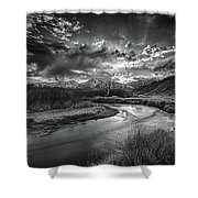 Sun Setting On The Owens River Shower Curtain