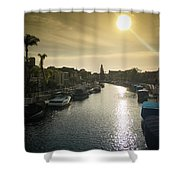 Sun Setting Over Canals Of Naples In Long Beach, Ca Shower Curtain