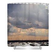 Sun Shines On The Harbor  Shower Curtain