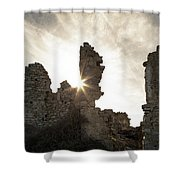 Sun Shining Through A Derelict Building At Occi In Corsica Shower Curtain