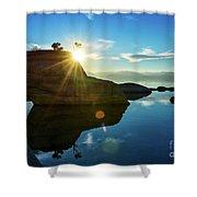 Sun Star Mirror Shower Curtain