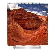 Sun Stripes On The Wave Shower Curtain