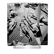 Sun Tanning At The Deligny Swimming Pool, Paris, June, 1963 Shower Curtain